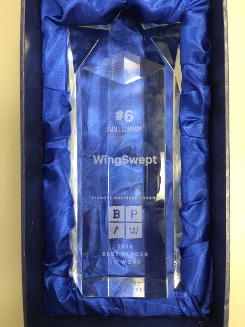 WingSwept Best Places to Work trophy