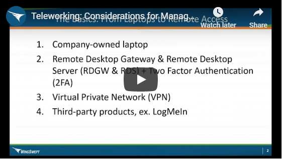 Video - Remote working considerations for business owners, executives and managers